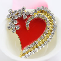 Mobile Phone DIY Decoration, Zinc Alloy, Heart, gold color plated, enamel & with rhinestone, lead & cadmium free, 43x49mm, Sold By PC