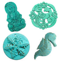 Carved Turquoise Pendants