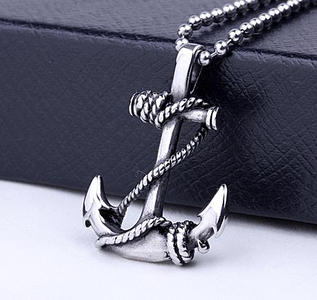 Stainless Steel Ship Wheel & Anchor Pendant