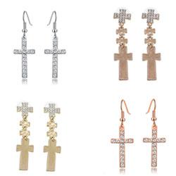 Zinc Alloy Cross Earrings