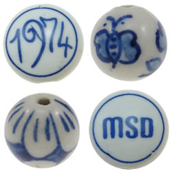 Blue and White Porcelain Beads