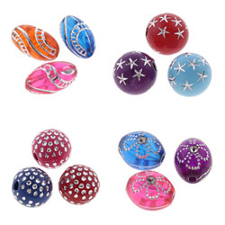Silver Accent Acrylic Beads