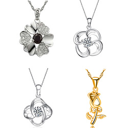 Sterling Silver Flower Pendants
