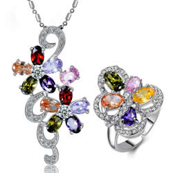 Cubic Zirconia Micro Pave Zinc Alloy Jewelry Sets