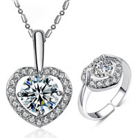 Cubic Zirconia Micro Pave Zinc Alloy Jewelry Sets