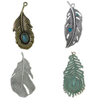 Zinc Alloy Feather Pendants