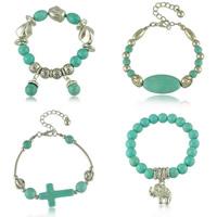 Zinc Alloy Turquoise Bracelets