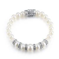 Glass Pearl Zinc Alloy Bracelets